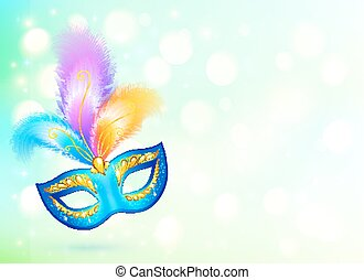 Blue carnival mask with colorful feathers banner background