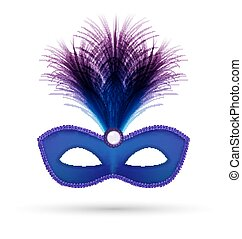 Blue carnival mask with fluffy feathers isolated on white...