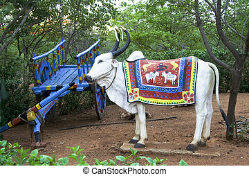 Blue Cart and Bullock - Blue painted cart and white bullock...