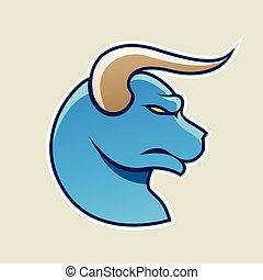 Blue Cartoon Bull Icon Vector Illustration