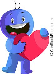 Blue cartoon caracter holding a big red heart illustration vector on white background