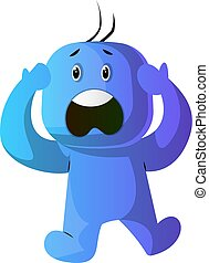 Blue cartoon caracter panic illustration vector on white background