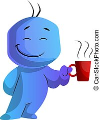 Blue cartoon caracter with a cup illustration vector on white background