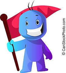 Blue cartoon caracter with a flag illustration vector on white background