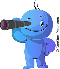 Blue cartoon caracter with his monocular illustration vector...
