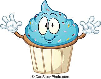 Blue cartoon cupcake