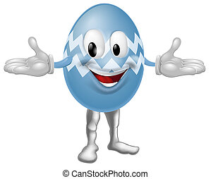 Blue Cartoon Easter Egg Man