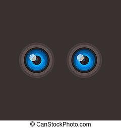 Blue Cartoon Eyes on Dark Background. Vector