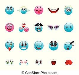 Blue cartoon face icon set vector design