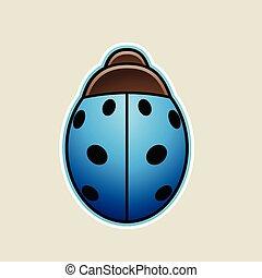 Blue Cartoon Ladybug Icon Vector Illustration