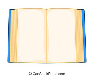 blue cartoon open book isolated on white background