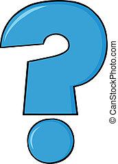 Blue Cartoon Character Question Mark