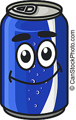 Blue cartoon soda or soft drink can cute character with...