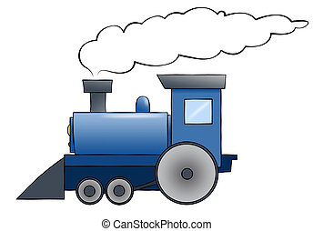 A blue cartoon train chugging along with room for text on the train or in the smoke.