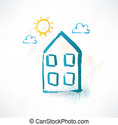 Blue cartoon two-storied house. Brush icon.