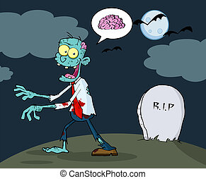 Blue Cartoon Zombie