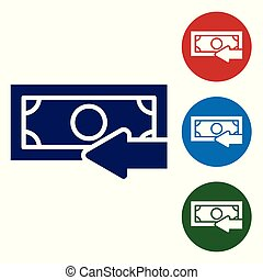 Blue Cash back icon isolated on white background. Financial services, money refund, return on investment, savings account, currency exchange. Set color icon in circle buttons. Vector Illustration