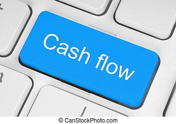 Blue cash flow button - Blue cash flow button on white...