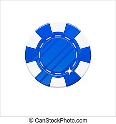 Blue casino chip cartoon style isolated