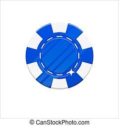 Blue casino chip cartoon style isolated