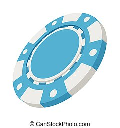 Blue casino token cartoon icon