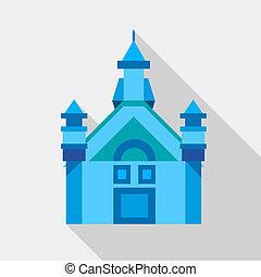 Blue castle icon, flat style