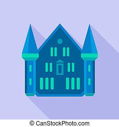 Blue castle palace icon, flat style