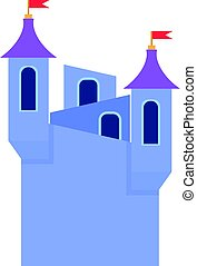 Blue castle towers with flags icon, cartoon style