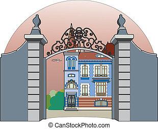 Blue castle - Vector illustration of a castle, EPS 8 file