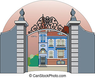 Blue castle - Vector illustration of a castle, EPS 8 file