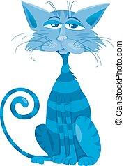 blue cat character cartoon illustration