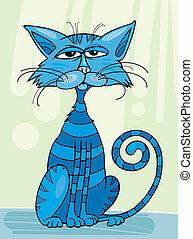 Blue Cat - Illustration of sitting blue cat