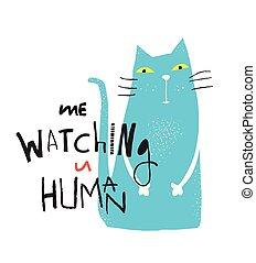 Blue Cat Graphic Print - Cat sitting lookingat you graphic...