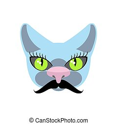 Blue Cat with big mustache. Pet hipsters. Vector icon, logo