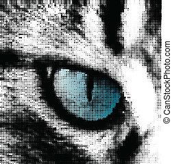 Blue cat's eye concept. Vector