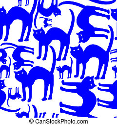 blue cats pattern isolated on white background