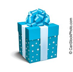 Blue Celebration Gift Box with Bow Isolated on White