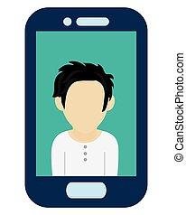blue cellphone male avatar