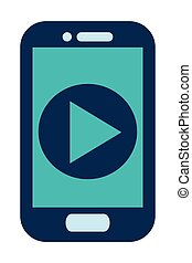 blue cellphone play icon