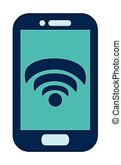 blue cellphone with wifi icon