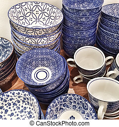 Blue ceramic plates and cups