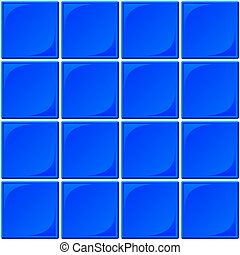 Blue Ceramic Tile Seamless Background - Typical seamless set...