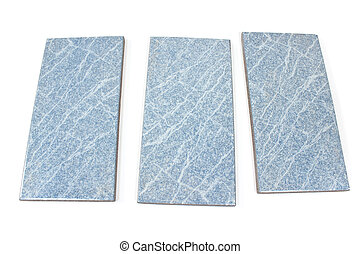 Blue ceramic tiles isolated on white