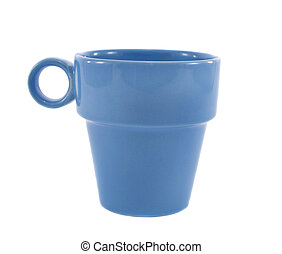 Blue ceramical empty cup isolated over white background