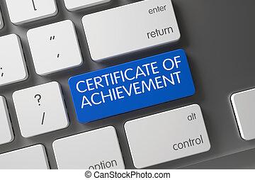 Blue Certificate Of Achievement Button on Keyboard.