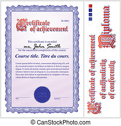 Blue certificate. Template. Vertical. Additional design...