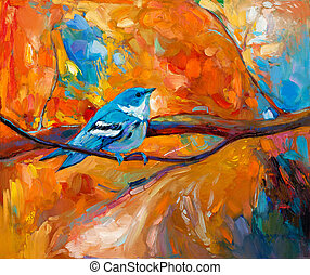Original oil painting of blue Cerulean Warbler song bird on canvas. Modern impressionism