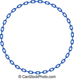 Blue chain in shape of circle on white background