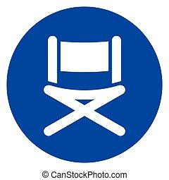 blue chair circle icon