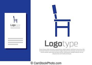 Blue Chair icon isolated on white background. Logo design template element. Vector